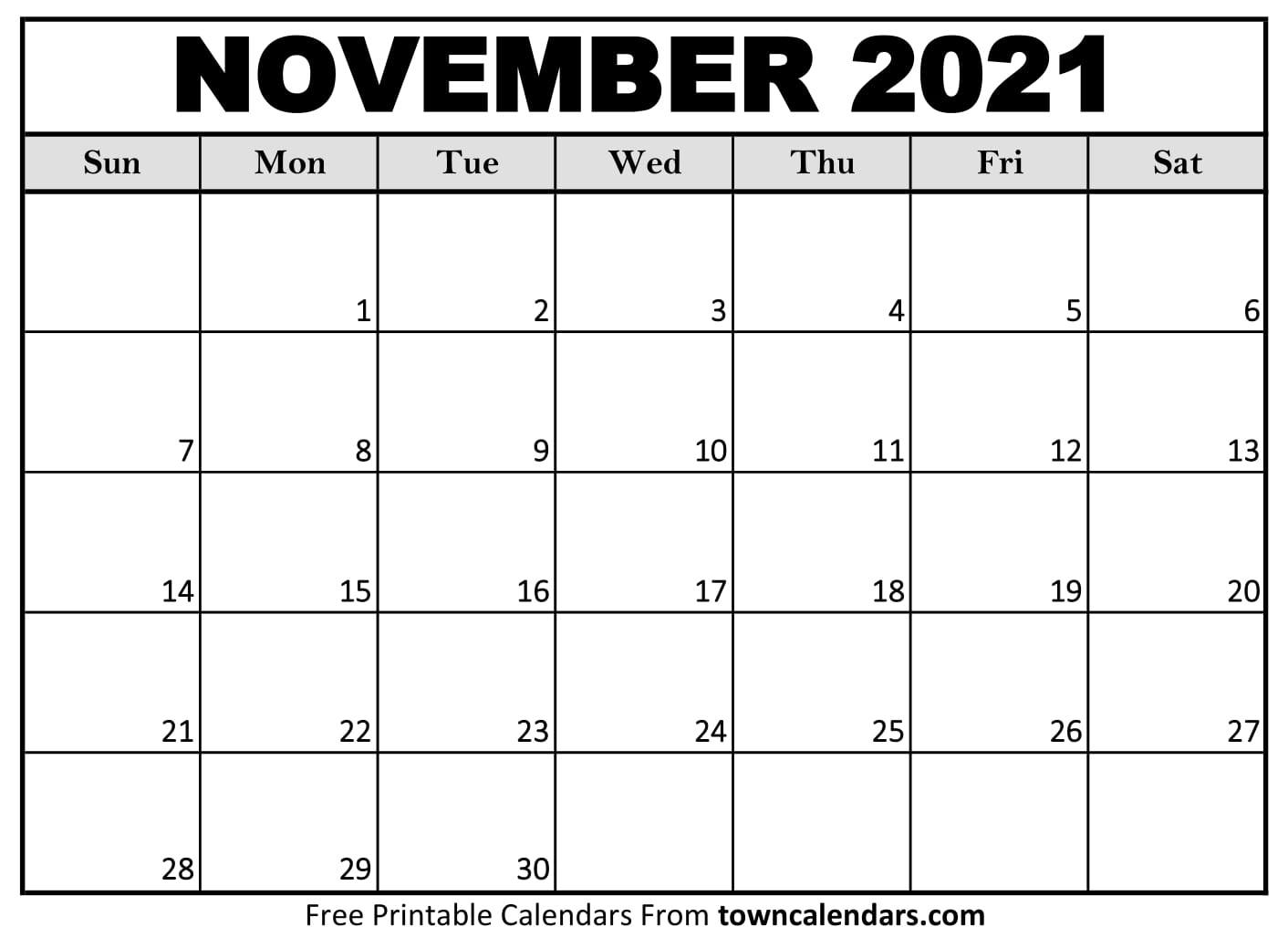 Printable November 2021 Calendar - Towncalendars November 2021 Calendar To Print
