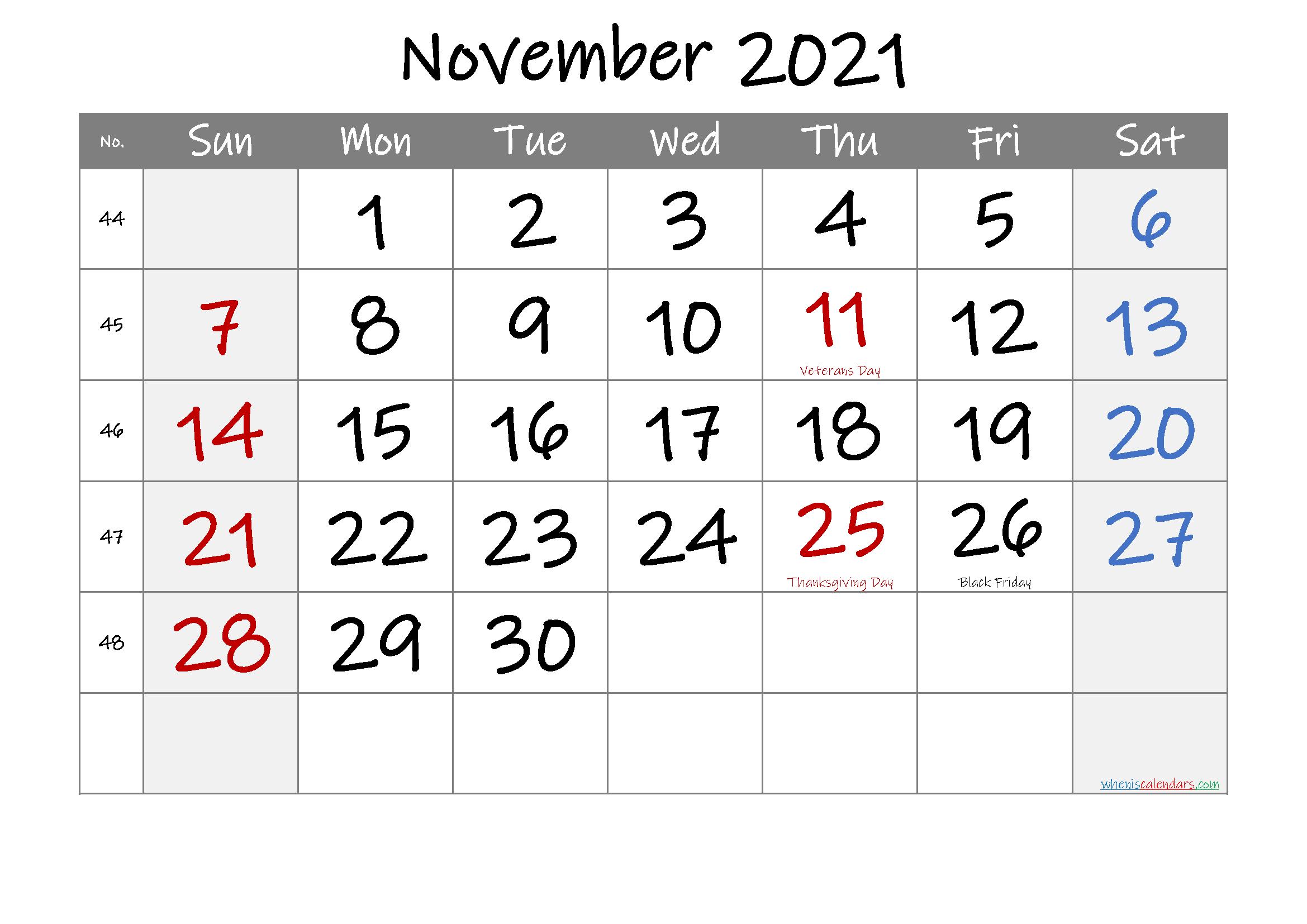 Printable November 2021 Calendar With Holidays November 2021 Calendar To Print