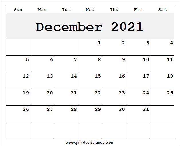 Printable Pocket Calendar December 2021 | Calendar Blank December 2021 Calendar