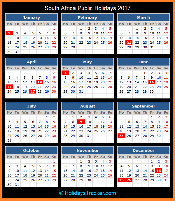 South Africa Public Holidays 2017 - Holidays Tracker December 2021 Calendar With Holidays South Africa