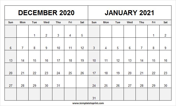 Two Month December 2020 January 2021 Calendar - Pinterest December 2020 And Jan 2021 Calendar