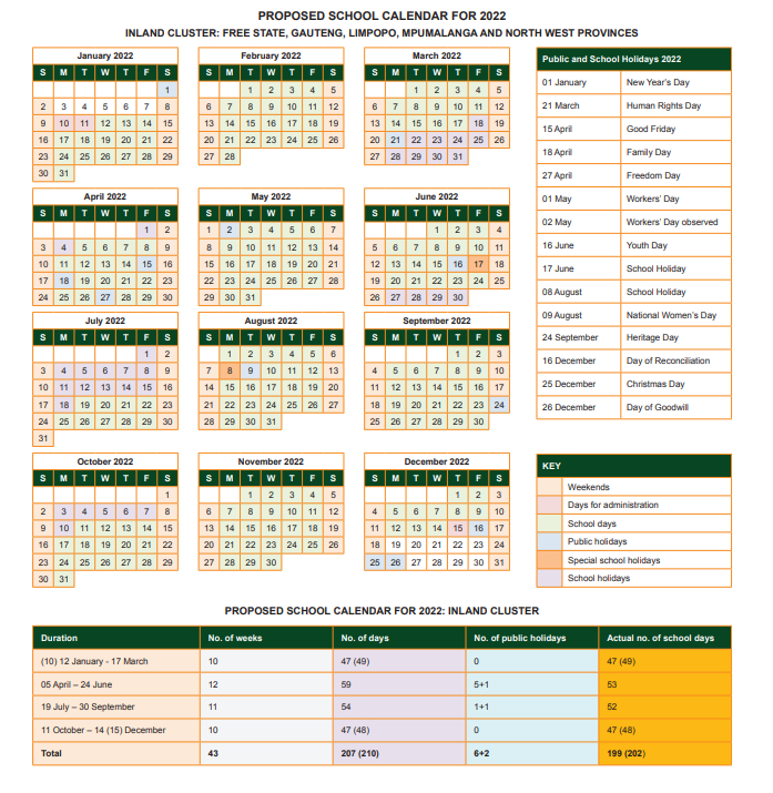 Updated School Calendars Show Slow Return To 'Normal' In December 2021 Calendar With Holidays South Africa